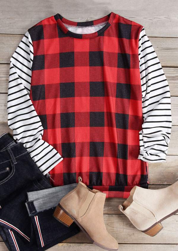 Plaid Striped Long Sleeve T-Shirt
