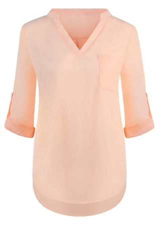 Solid V-Neck Tab Sleeve Blouse