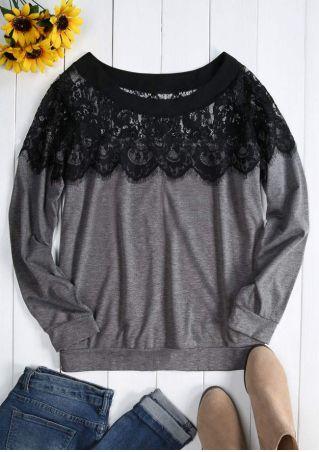 Plus Size Lace Floral O-Neck Blouse