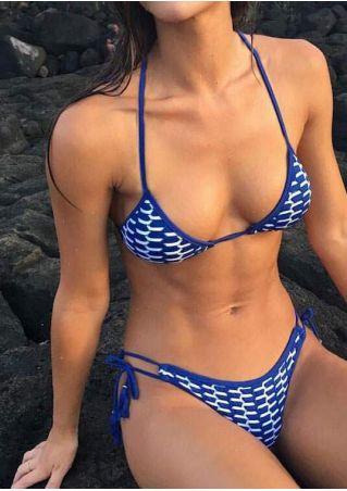 Printed Tassel Halter Bikini Set