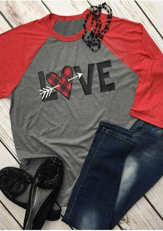 Love Plaid Arrow Heart Baseball T-Shirt
