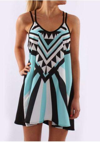 Geometric Spaghetti Strap Mini Dress