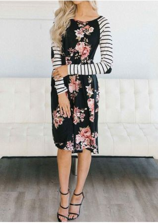 Floral Striped Splicing Elbow Patch Casual Dress