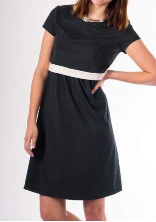 Color Block O-Neck Lactation Mini Dress without Necklace