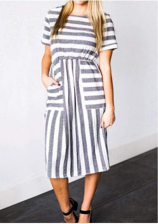 Striped Pocket O-Neck Casual Dress