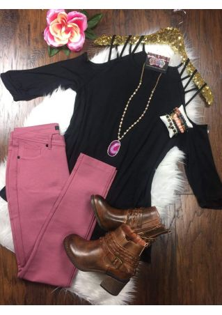 Solid Cold Shoulder Blouse