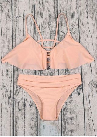 Solid Layered Hollow Out Bikini Set