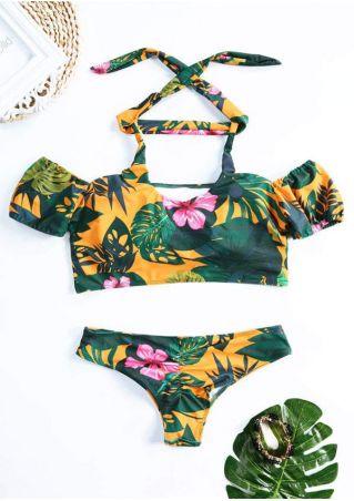 Floral Off Shoulder Bikini Set with Choker
