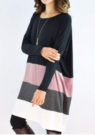 Color Block Casual Dress without Necklace
