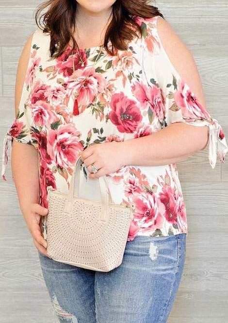 86e97cea754 Plus Size Floral Cold Shoulder Blouse without Necklace - Bellelily