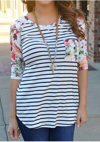 Striped Floral Pocket Baseball T-Shirt without Necklace