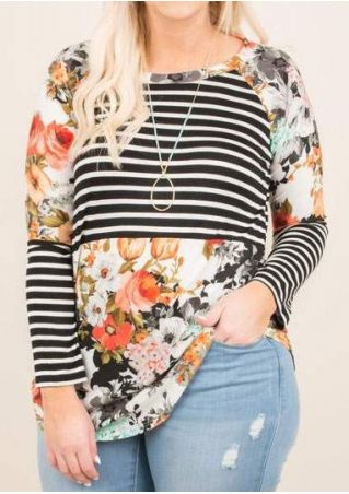 Plus Size Floral Striped Splicing Baseball T-Shirt without Necklace