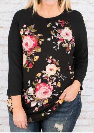Plus Size Floral O-Neck Baseball T-Shirt