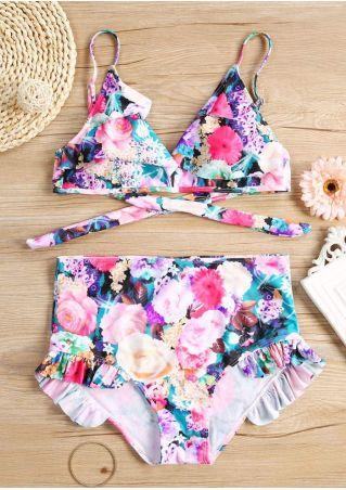 Floral Ruffled Bikini Set
