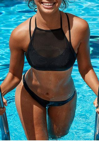 Solid Mesh Splicing Bikini Set