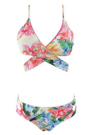 Floral Cross Hollow Out Bikini Set