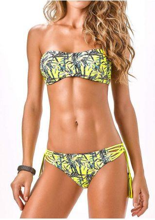 Coconut Tree Tassel Strapless Bikini Set