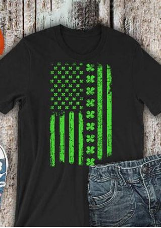 Shamrock American Flag Short Sleeve T-Shirt