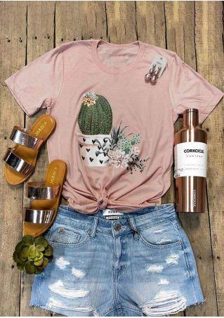 Cactus Floral O-Neck T-Shirt