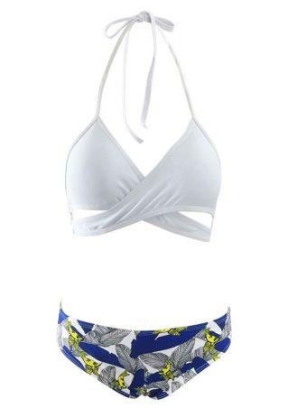 Printed Tie Halter Bikini Set