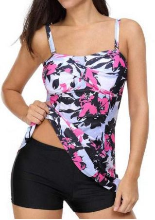Floral Adjustable Strap Tankini