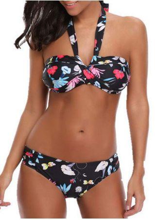 Floral Halter Sexy Bikini Set