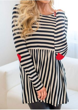 Striped Heart Elbow Patch Blouse