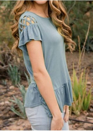 Solid Ruffled Criss-Cross Blouse without Necklace
