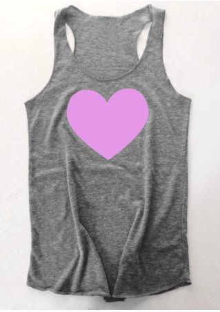 Heart Printed O-Neck Tank