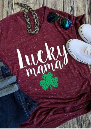 Lucky Mama V-Neck T-Shirt