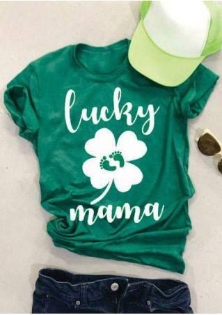 Lucky Mama Four-Leaf Clover T-Shirt