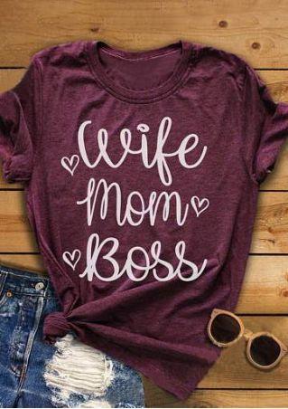 Wife Mom Boss Heart T-Shirt