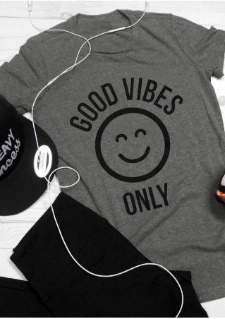 Good Vibes Only Smiling Face T-Shirt