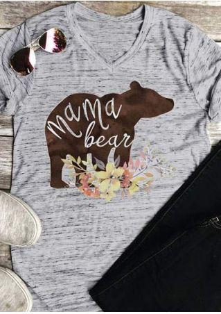 b62e76f7 Floral Mama Bear V-Neck T-Shirt - Bellelily