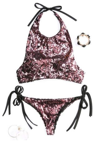 Sequined Splicing Tie Bikini Set