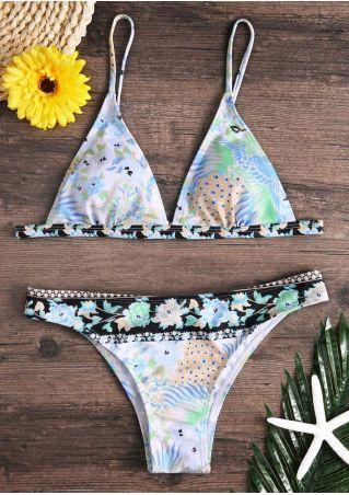 Floral Peacock Adjustable Strap Bikini Set