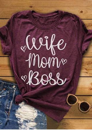 Wife Mom Boss Heart T-Shirt