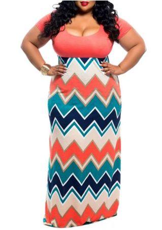 Plus Size Zigzag Short Sleeve Maxi Dress