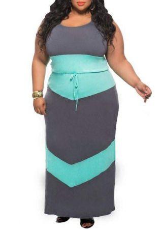 Plus Size Color Block Maxi Dress