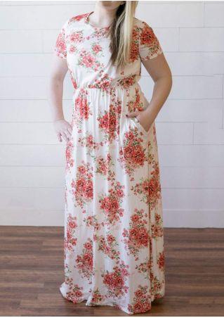 Plus Size Floral Pocket Maxi Dress