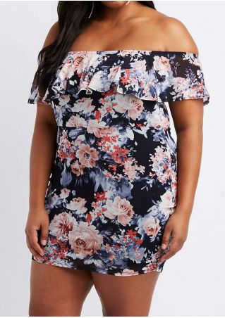 Plus Size Floral Flouncing Off Shoulder Mini Dress