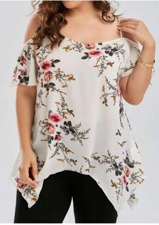 Plus Size Floral Cold Shoulder Asymmetric Blouse