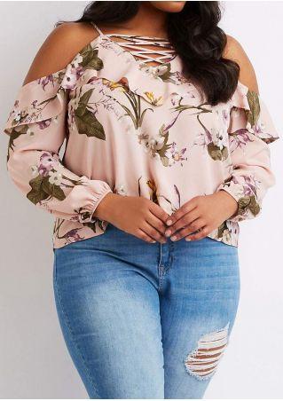 Plus Size Floral Criss-Cross Cold Shoulder Blouse