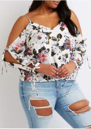 Plus Size Floral Tie Cold Shoulder Blouse