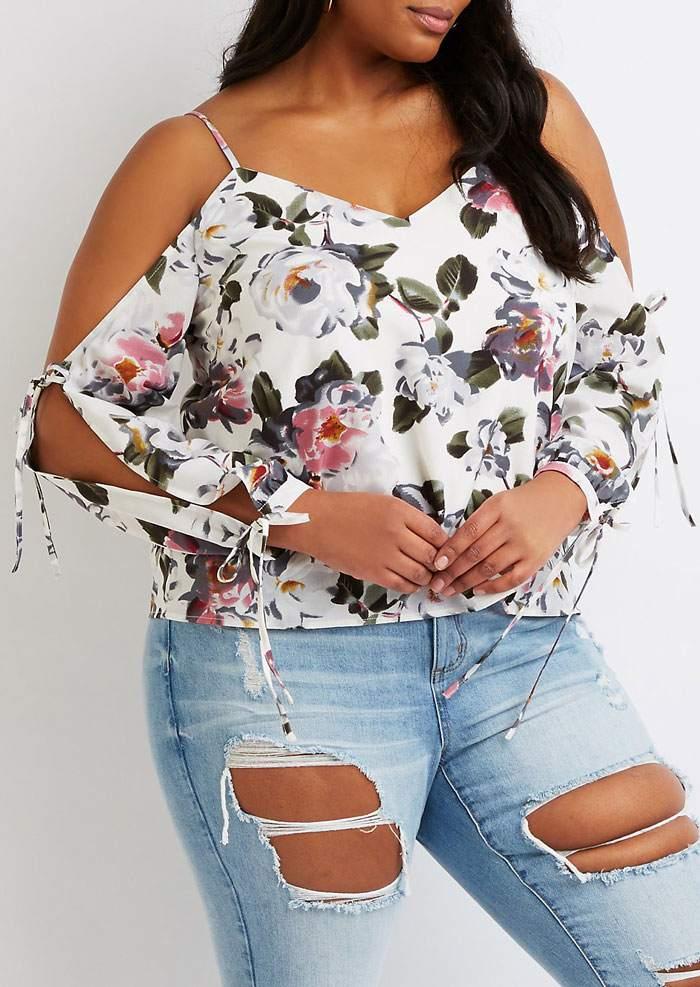 d1eb0109362 Plus Size Floral Tie Cold Shoulder Blouse - Bellelily