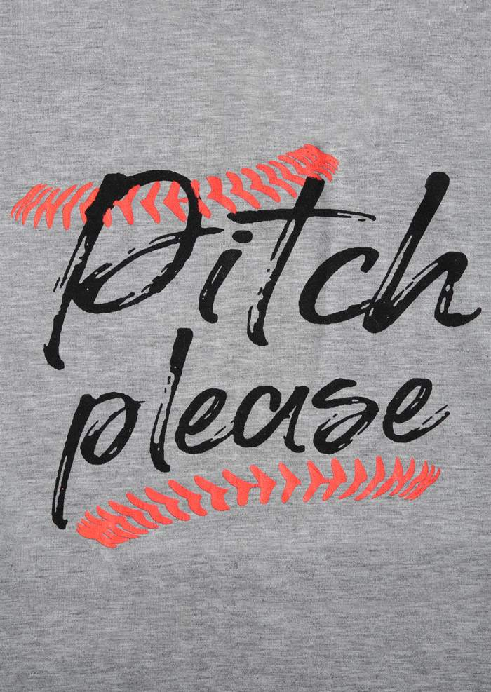 Pitch Please Baseball O Neck Short Sleeve T Shirt Bellelily