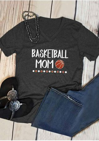 Basketball Mom V-Neck Short Sleeve T-Shirt