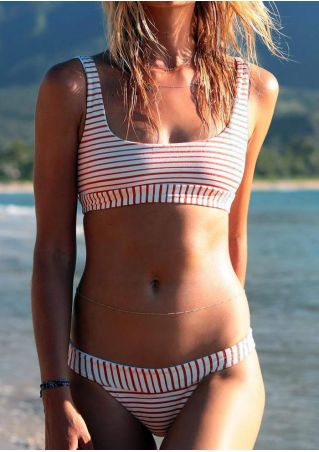 Striped Sexy Bikini Set without Necklace
