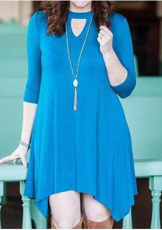 Plus Size Solid Asymmetric Mini Dress without Necklace
