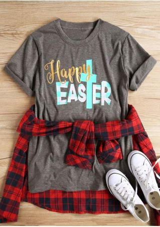 Happy Easter Plaid Short Sleeve T-Shirt